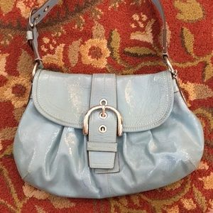 💕 Coach light turquoise patent leather med hobo💕